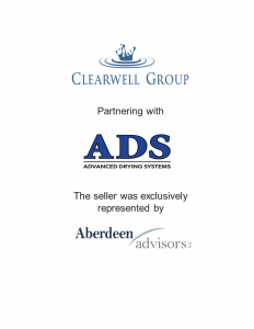 Aberdeen Advisors Negotiated the acquisition of advanced drying systems tombstone by Advanced Drying Systems The seller was exclusively represented by Aberdeen Advisors.